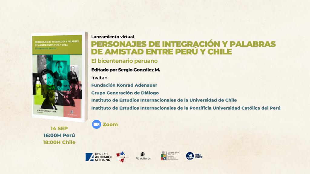 Invitación 14/09: Lanzamiento del libro «Personajes de integración y palabras de amistad entre Perú y Chile» 1
