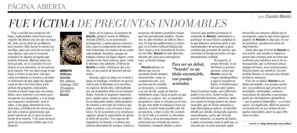 «Nonato», de Williams Arévalo, en El Mercurio 1
